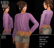 Badoura Design BD-Jenn Knit Sweater Mesh aubergine violettt wool belly top dollarbie promo