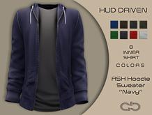 .Atelier. Ash Hoodie Sweater Navy HUD Driven