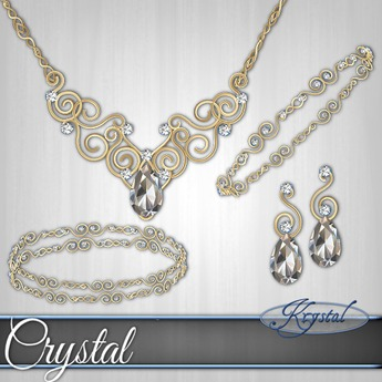 ::: Krystal ::: Crystal - Jewelry Set - Gold