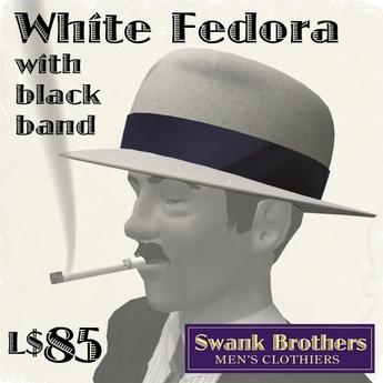 Swank's White Fedora w/Black Band