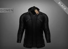 G I O M E N - Leather Jacket Hooded BLACK