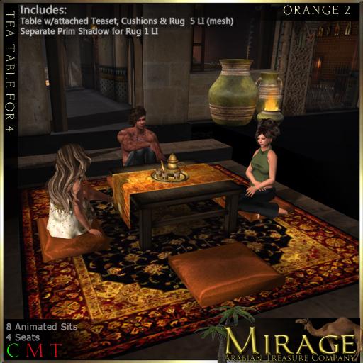 =Mirage= Tea Table for 4 - Orange2