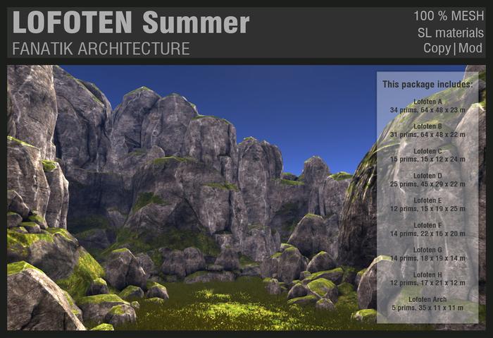 :Fanatik Architecture: LOFOTEN Summer - mesh sim building / landscaping kit - rock formation building prefab