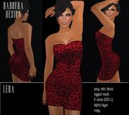 BD-Lera red Mini Dress Mesh leo glitter print short dress