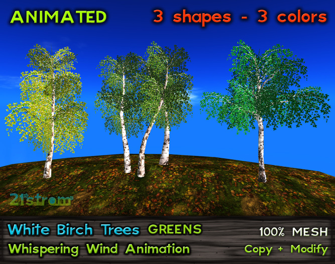21strom: White Birch Trees GREENS - animated mesh trees with wind