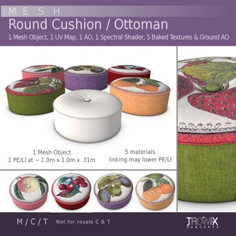 Trowix - Round Cushion / Ottoman Mesh Pack