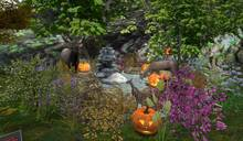 CJ Halloween Fall Pond full of Flowers + Deers c + m -