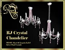 Elegant Mesh Crystal Chandelier (set of 2) - Silver with Pink Crystals