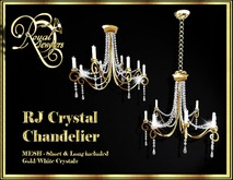 Elegant Mesh Crystal Chandelier (set of 2) - Gold with White Crystals