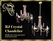 Elegant Mesh Crystal Chandelier (set of 2) - Gold with Pink Crystals