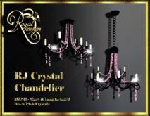 Elegant Mesh Crystal Chandelier (set of 2) - Black with Pink Crystals