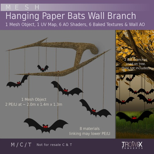 Trowix - Hanging Paper Bats Wall Branch Mesh Pack