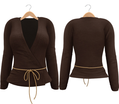 Blueberry Radi - Belleza Fitted - Lola's Applier & HUD For Ties - Short Tied Cardigans Brown