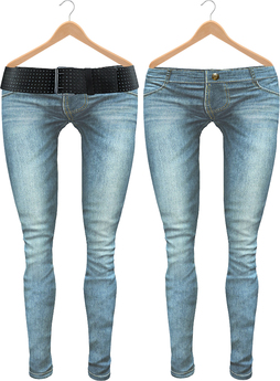 Blueberry Radi - Belleza Fitted - HUD Controlled & Optional Belts - Boots Friendly & Regular Cut Jeans Ice