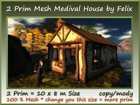 2 Prim Mesh Medival House 10x8m Size copy-mody