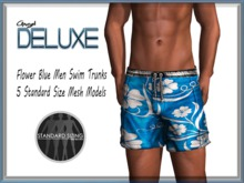 Angel DELUXE - Flower Blue Swim Trunks - MESH