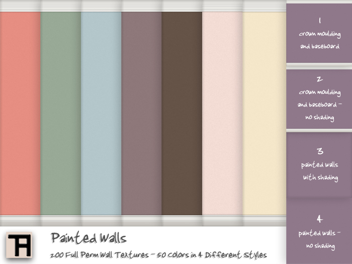 ~TH~ Painted Walls - 200 FULL PERM Textures - 50 Colors - 4 Wall Styles