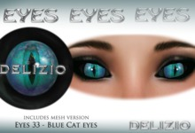 Delizio - Blue cat eyes + Mesh eyes version - Halloween eyes