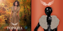 TOPAZIA- Irena fur shawl ivoire