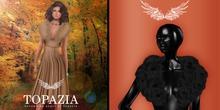 TOPAZIA- Irena fur shawl black