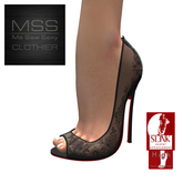 *Me Sew Sexy* Sheer Lace Peep Toe Heels - SLINK High Feet - Black