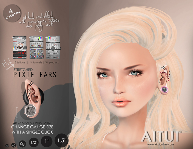 AITUI - Ear System: Gen 4, Stretched Pixie Ears