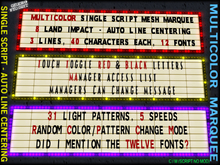 Multicolor Low Prim Programmable Marquee - 31 animated light patterns