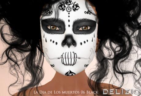 Delizio - FREE GIFT!  La Dia de Los Muertos SUGAR SKULL Face Paint Tattoo 06 BLACK ( 1