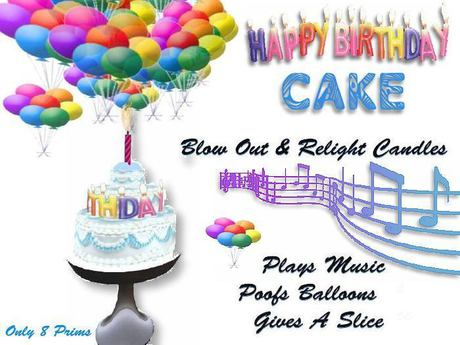 Enjoyable Second Life Marketplace Happy Birthday Cake Music Balloons Personalised Birthday Cards Petedlily Jamesorg