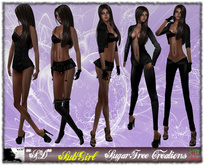 **SD** - SubGirl - ( Mesh Outfit )  - Black 1.0 FATPACK Boots and shoes all included