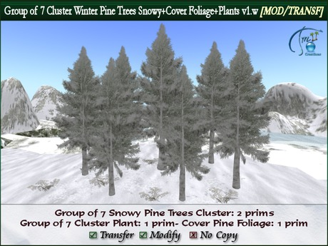 7 Winter Pine Trees Forest Mountain Cluster 2 prims + snowy plants + Ground Cover Foliage. MOD/TRANF.