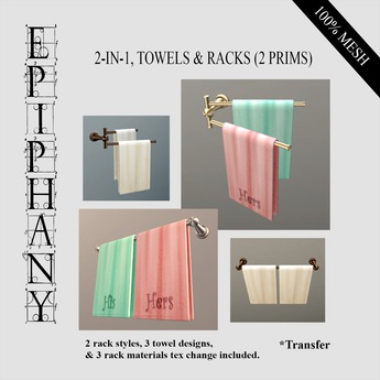 Towels & Racks 2-In-1 Sets (2 Prims each Style)
