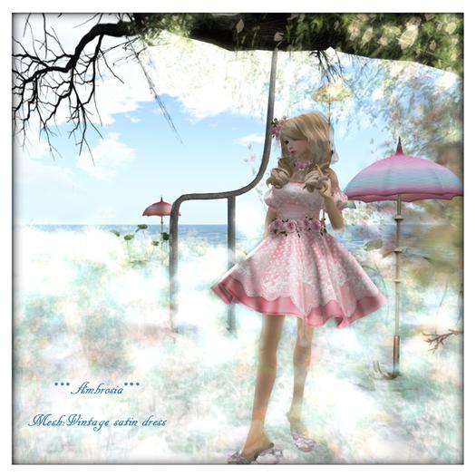 ***Ambrosia***Mesh:Vintage satin dress[baby pink]