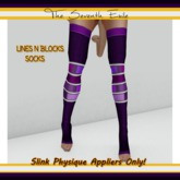 The Seventh Exile - Lines N Blocks Socks: Dark Purple - Slink Physique Appliers ONLY!