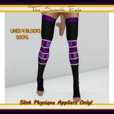 The Seventh Exile - Lines N Blocks Socks: Black and Purple - Slink Physique Appliers ONLY!