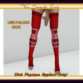 The Seventh Exile - Lines N Blocks Socks: Red - Slink Physique Appliers ONLY!
