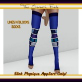 The Seventh Exile - Lines N Blocks Socks: Blue - Slink Physique Appliers ONLY!