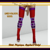 The Seventh Exile - Lines N Blocks Socks: Red and Purple - Slink Physique Appliers ONLY!