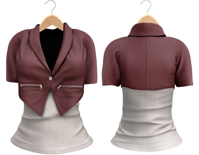 Blueberry Chlo - Crop Jacket & Optional Undershirts (Belleza Venus and Lola's Compatible) Purple