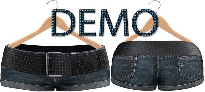 Blueberry Chlo - Mesh - Leather Belted Denim Shorts (Belleza Venus Compatible) DEMO