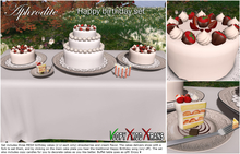"Aphrodite ""Happy birthday"" white chocolate cake set* Includes party candles, table and more!"