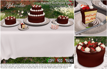 Aphrodite Happy birthdday dark chocolate cake set- Includes candles and buffet table!