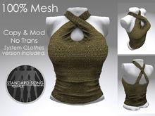 Criss Cross Top (Gold Weave) MESH 100%