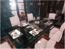 Dinner Party Dining SET for 6: Black Contemporary &  White Linen Set MESH NO COPY