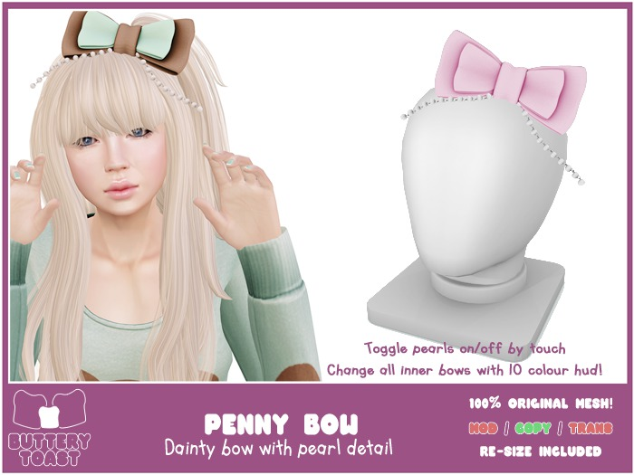 -Buttery Toast- Penny Bow - Pink