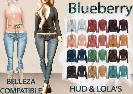 Blueberry Radi - Belleza Fitted - Lola's Applier & HUD For Ties - Short Tied Cardigans FAT PACK