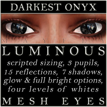 Mayfly - Luminous - Mesh Eyes (Darkest Onyx)