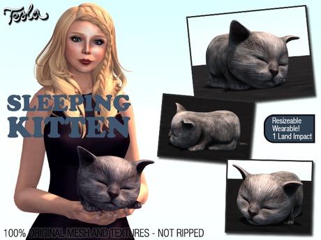 -TESLA- Mesh Sleeping Kitten (Display or Attach options)