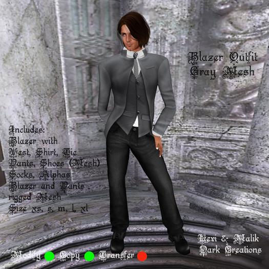 Blazer Outfit Gray  Mesh
