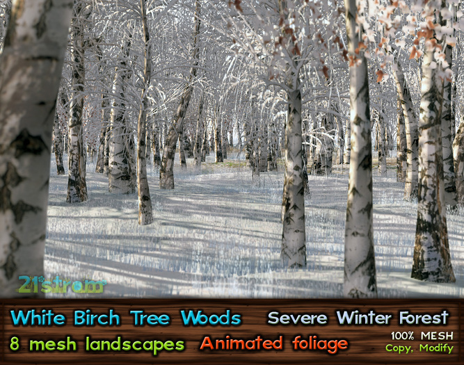21strom White Birch Forest Severe Winter - 8 animated mesh landscapes